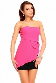 Růžové společenské šaty krátké plesové