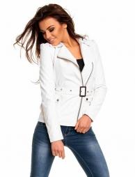 Bílá koženková dámská bunda