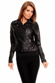 Černá koženková bunda (výprodej)