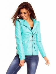 Modrá jarní bunda z koženky