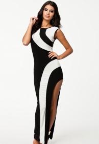 Dlouhé zeštihlující černo bílé šaty - aktální cena 690 Kč